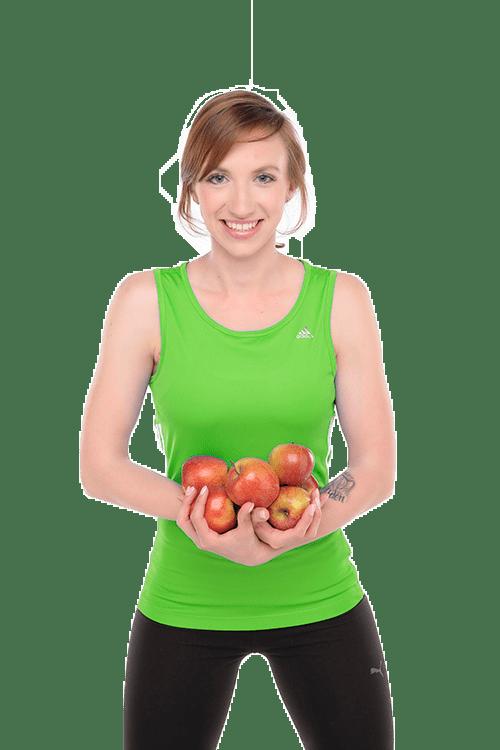 Delafit Daniel Ehlig mit Äpfeln bei der Ernährungsberatung